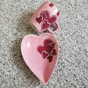 GatesWare mug and plate set pink with hearts